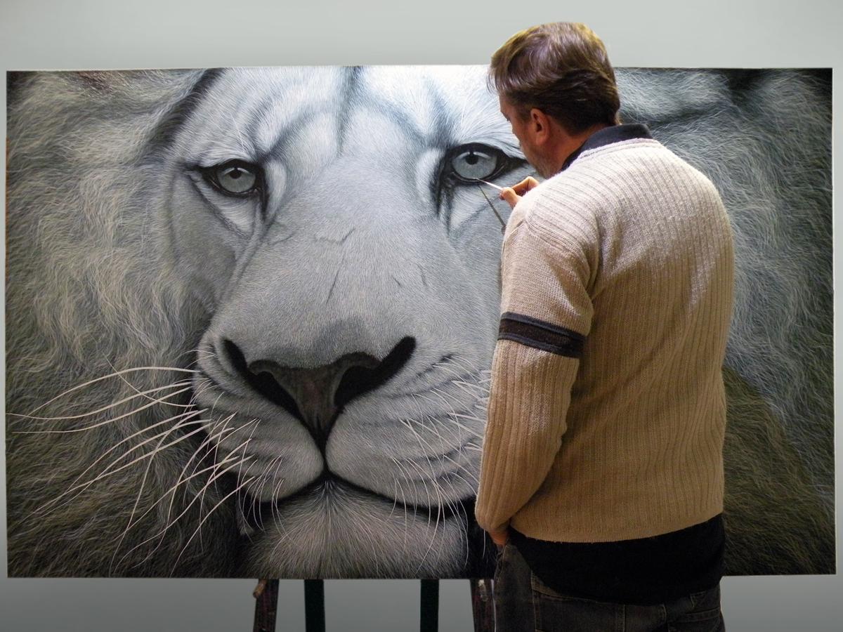 The Studio Art Gallery - White Lion by Marc Alexander - Work in Progress